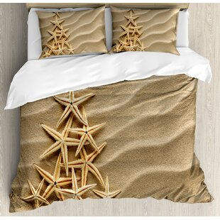 East Urban Home Christmas Tree from Shells on Sand Maritime Summer Coast Holiday Vacation Duvet Set
