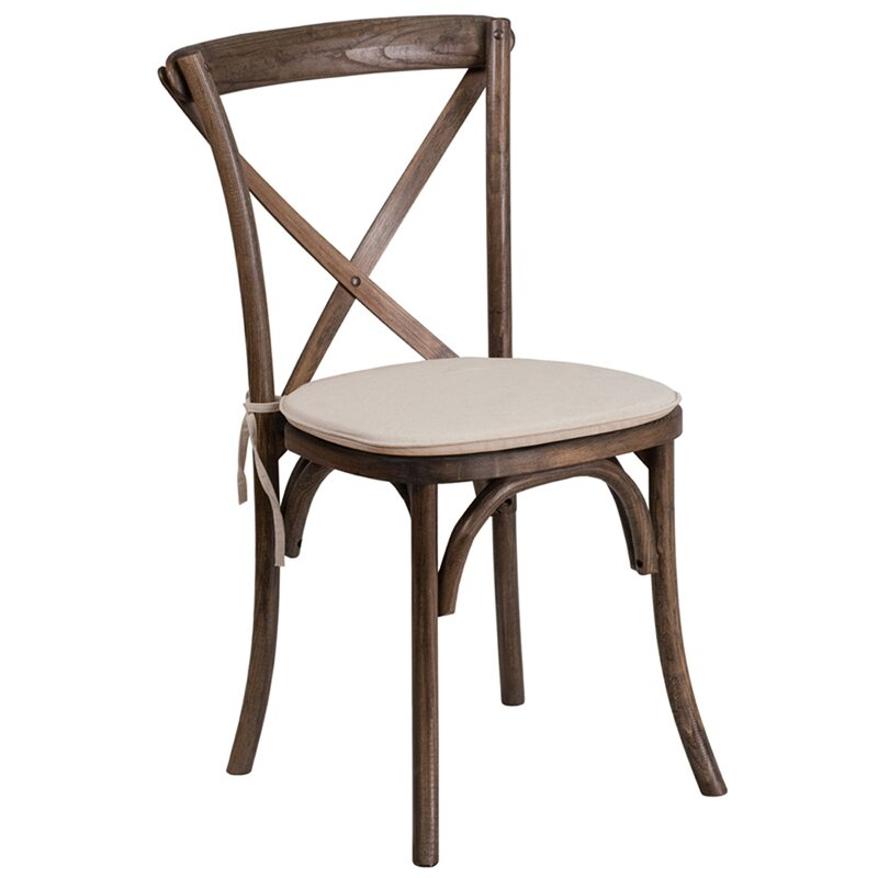 Gracie Oaks St Annes Early American Cross Back Solid Wood Dining Chair