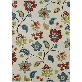 Affordable Lifestyles Ivory Garden Chintz Indoor/Outdoor Area Rug By Mayberry Rug