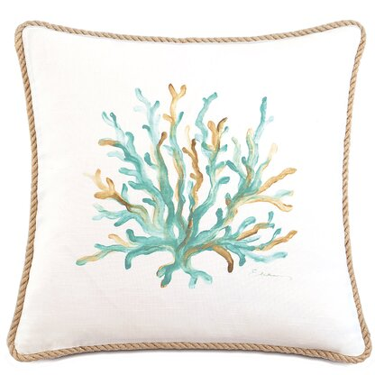 Sanibel Hand-Painted Cotton Throw Pillow