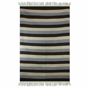 Shop For Bridlewood Bold Horizon Dhurrie Hand-Wooven Wool Black/Gray/Beige Area Rug ByBay Isle Home