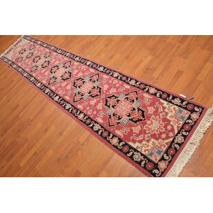 Read Reviews One-of-a-Kind Edda Traditional Persian Hand-Knotted 2'6 x 11'8 Wool Pink/Black/Blue Area Rug By Isabelline