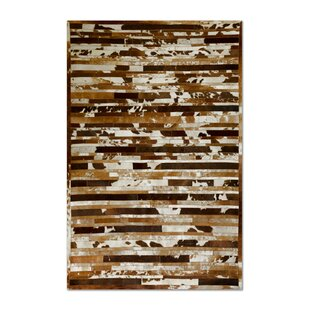 Sathvik Hand-Woven Cowhide Brown/White Area Rug By 17 Stories