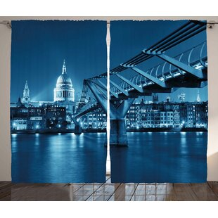 Cityscape Bridge Graphic Print Room Darkening Rod Pocket Curtain Panels (Set of 2) by East Urban Home