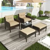 Brasi Patio 5 Piece Rattan Multiple Chairs Seating Group with Cushions by Latitude Run®