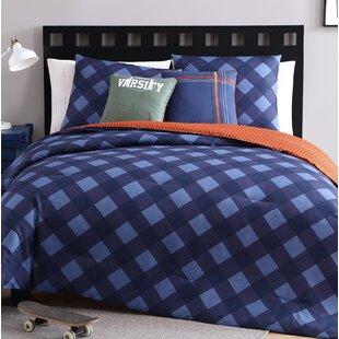 Harriet Bee Peres Checker 4 Piece Reversible Comforter Set