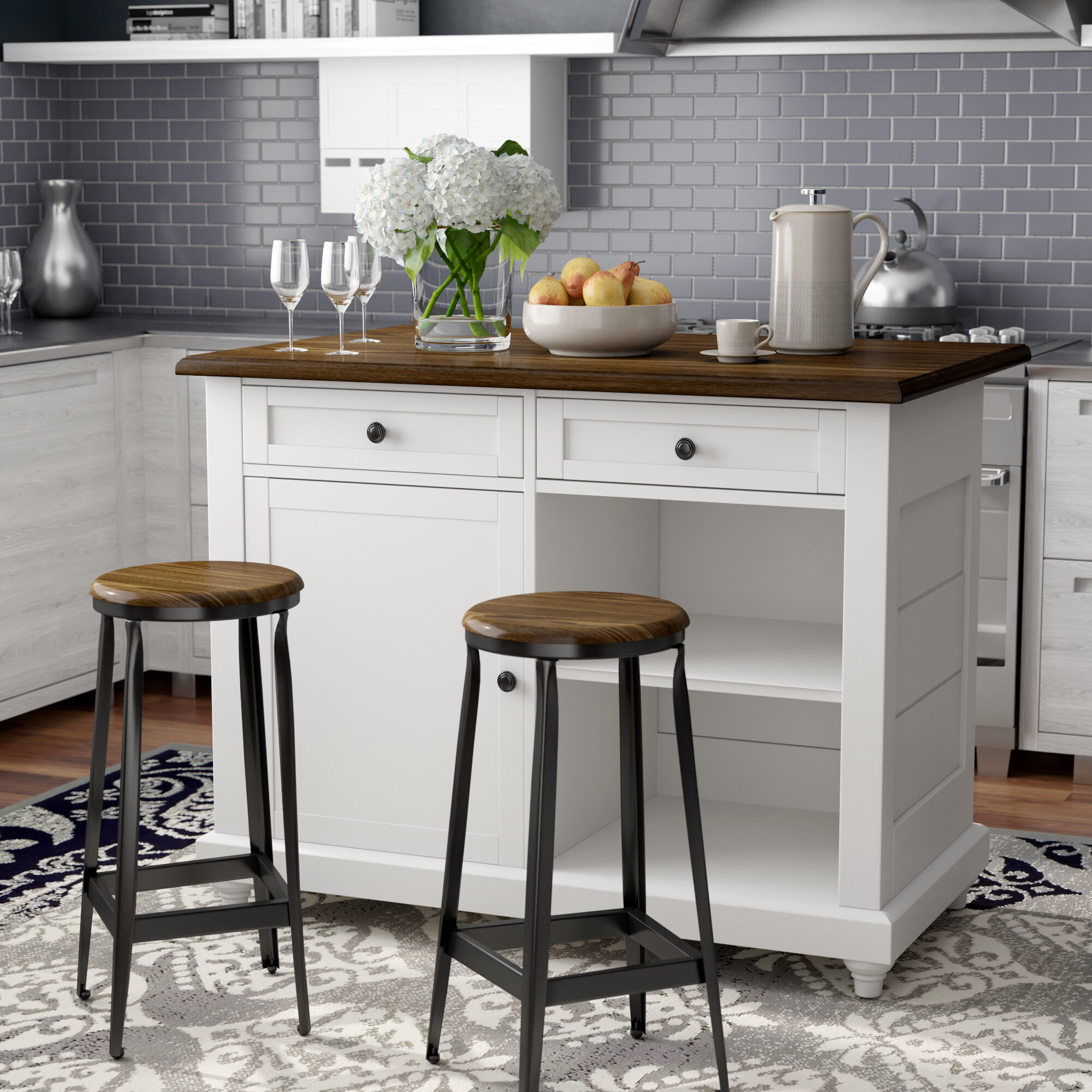 kitchen island with 2 stools You\'ll Love in 2019 | Wayfair