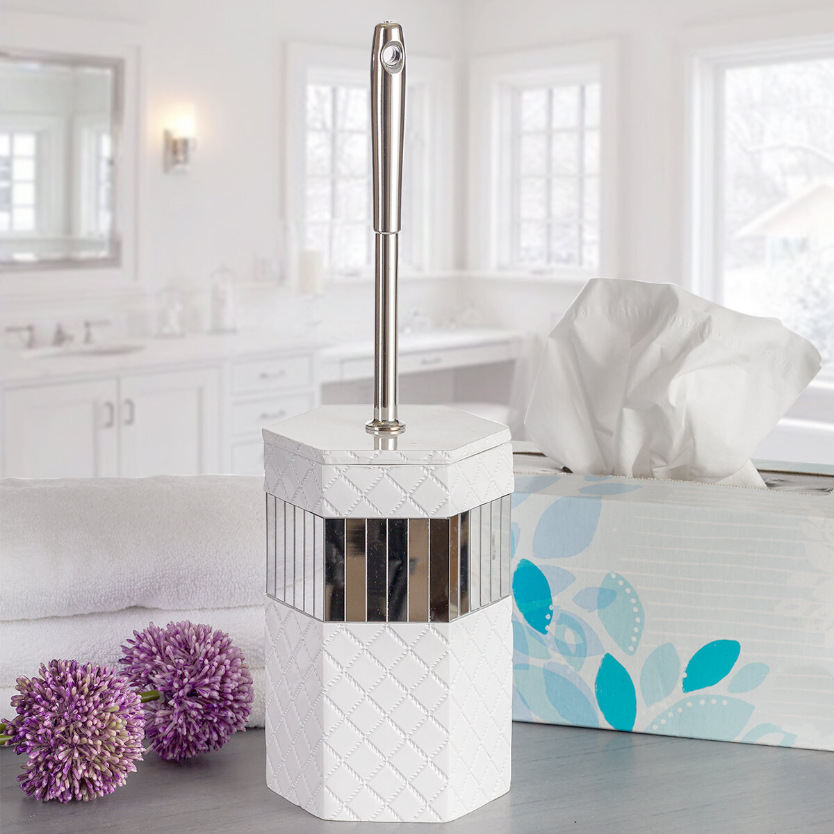 Orren Ellis Quilted Mirror 14in H Free Standing Toilet Brush And Holder Reviews Wayfair
