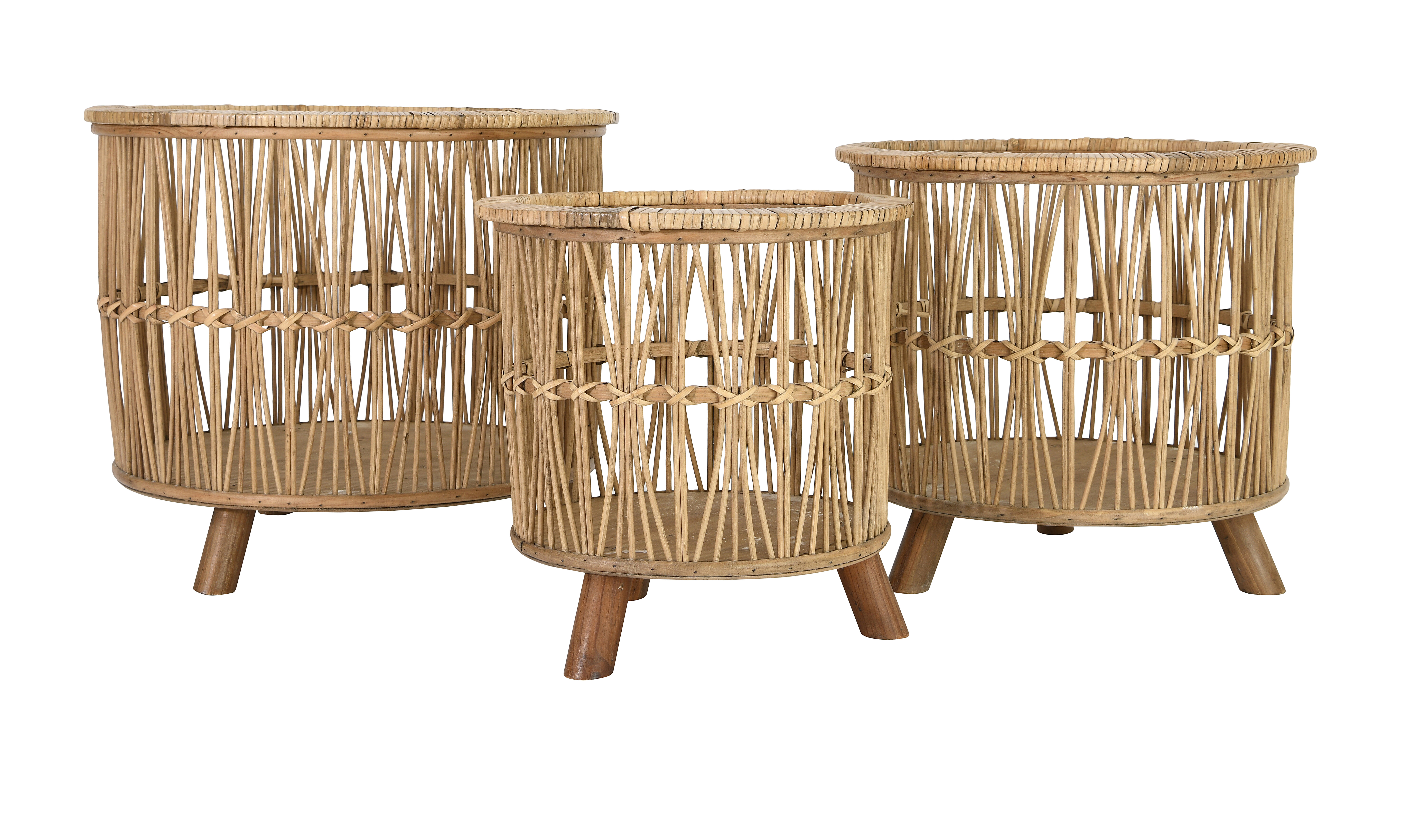 Woven Footed 3 Piece Bamboo Basket Set Reviews
