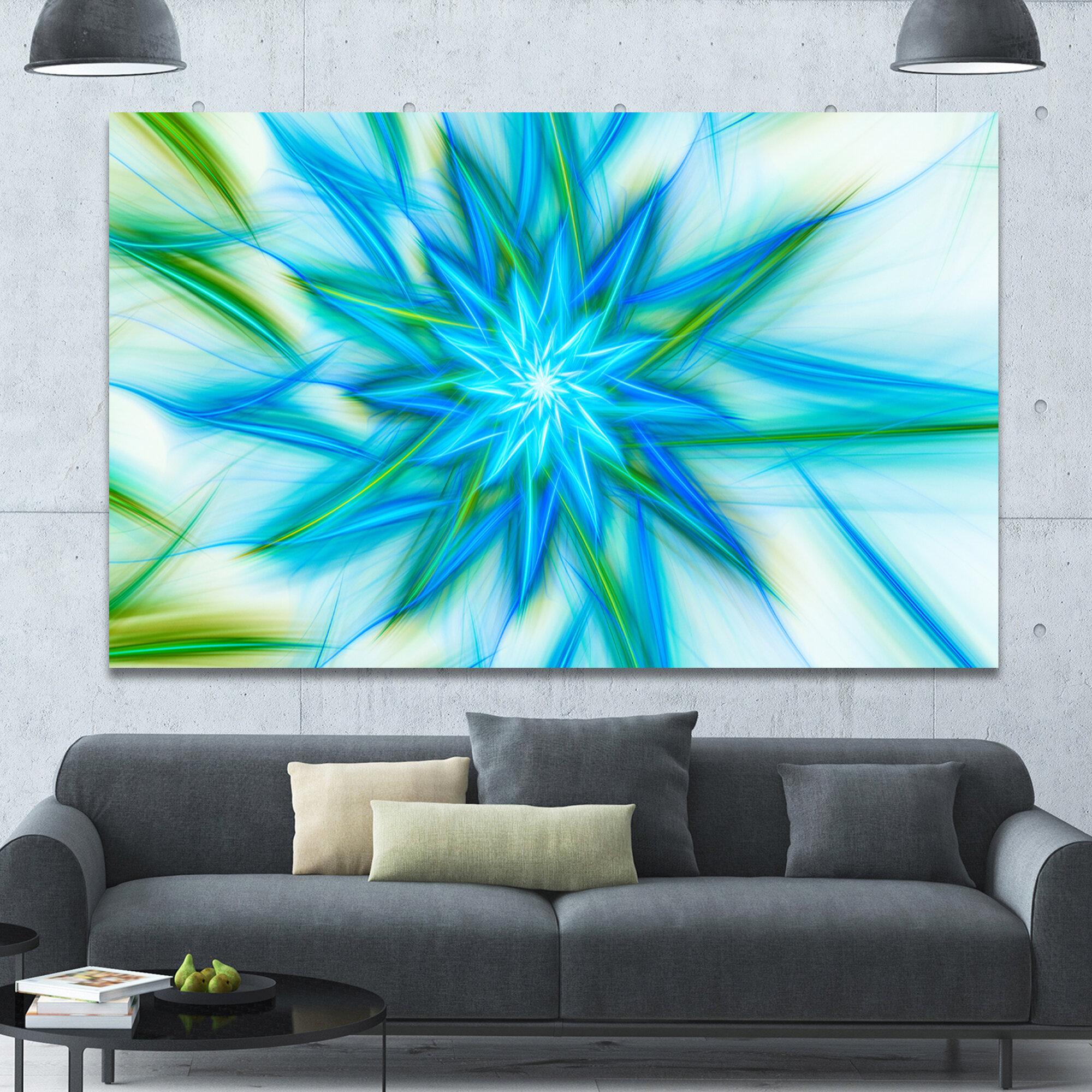 Designart Blue Fractal Shining Bright Star Graphic Art On Wrapped Canvas Wayfair