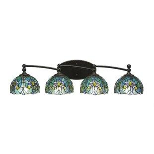 Winston Porter Skypark 4-Light Cypress Tiffany Glass Shade Vanity Light