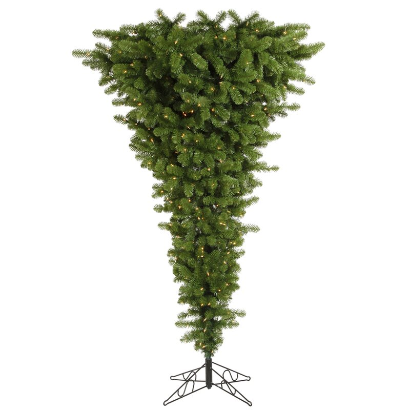 Colourful Upside Down 9' Green Artificial Christmas Tree with 1000 LED White Lights with Stand