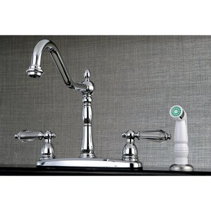 Kingston Brass Wilshire 2 Lever Handle Deck Mounted Kitchen Faucet with Side Spray