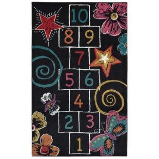 Check Prices Anastasia Hopscotch Chalk Black Indoor Area Rug ByZoomie Kids