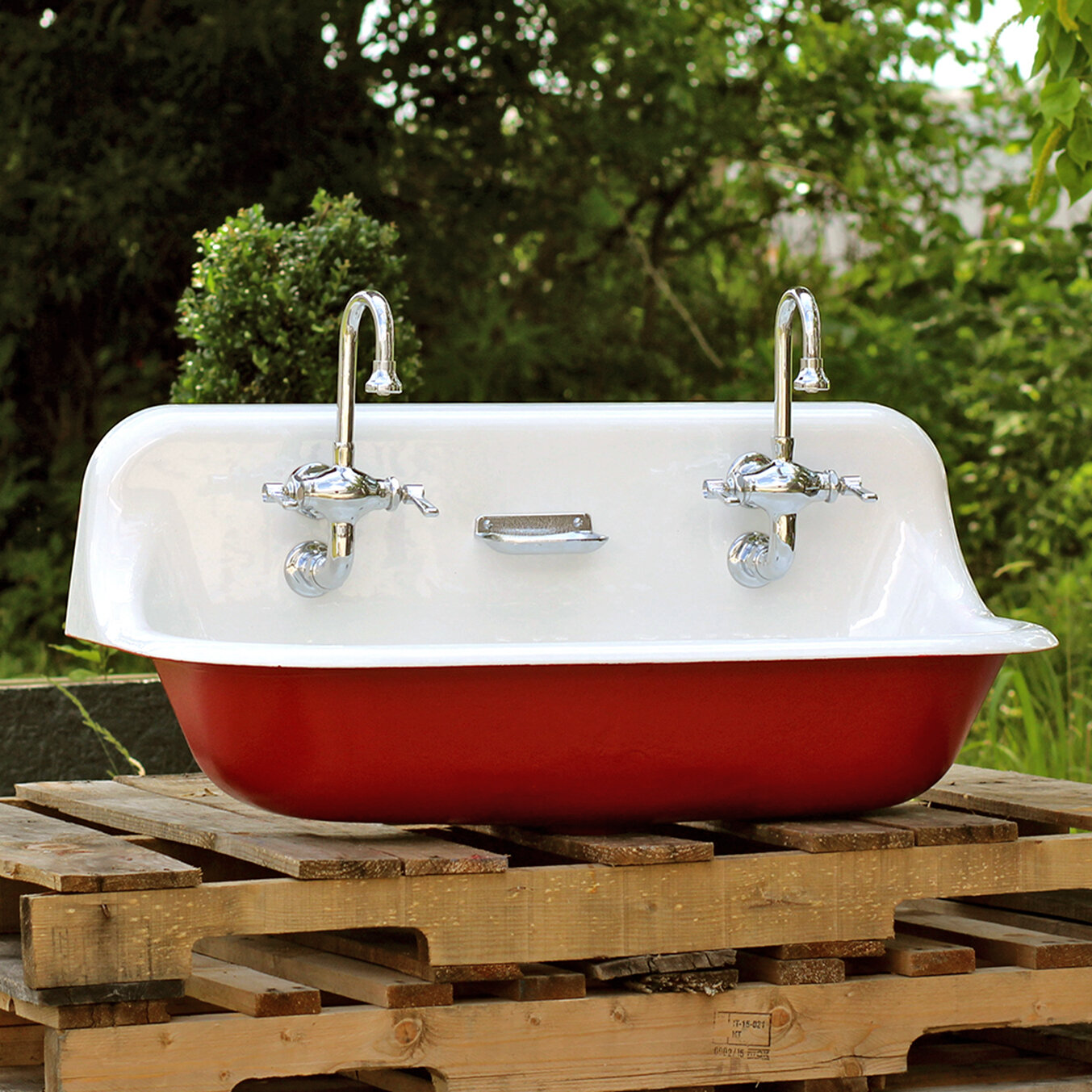 K 3200 0 36 Ir High Back Antique Inspired Kohler Farm Sink Incarnadine Red Cast Iron Porcelain Trough Package