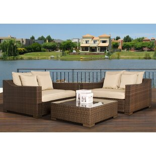 Jermal Wicker 3 Piece Rattan Sunbrella Conversation Set with Cushions