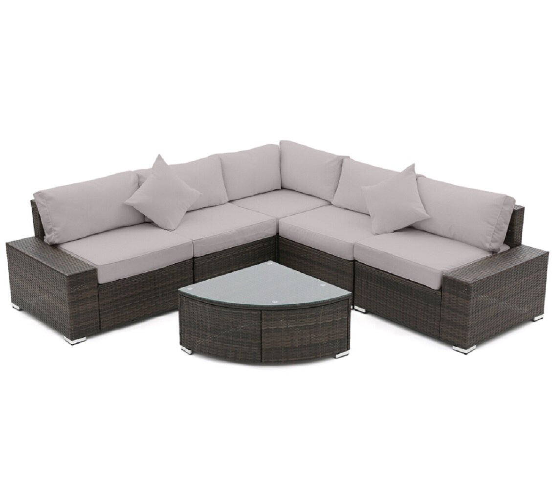 Latitude Run 5 Piece Rattan Sectional Seating Group With Cushions Reviews Wayfair