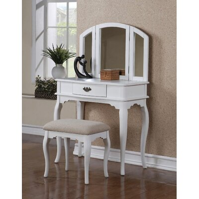 Estelle Vanity Set with Mirror Color: White