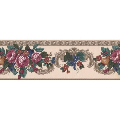 """Astoria Grand Kratz Blooming Roses Plums Grapes Traditional Victorian Design 15' L x 8"""" W Floral and Botanical Wallpaper Border"""