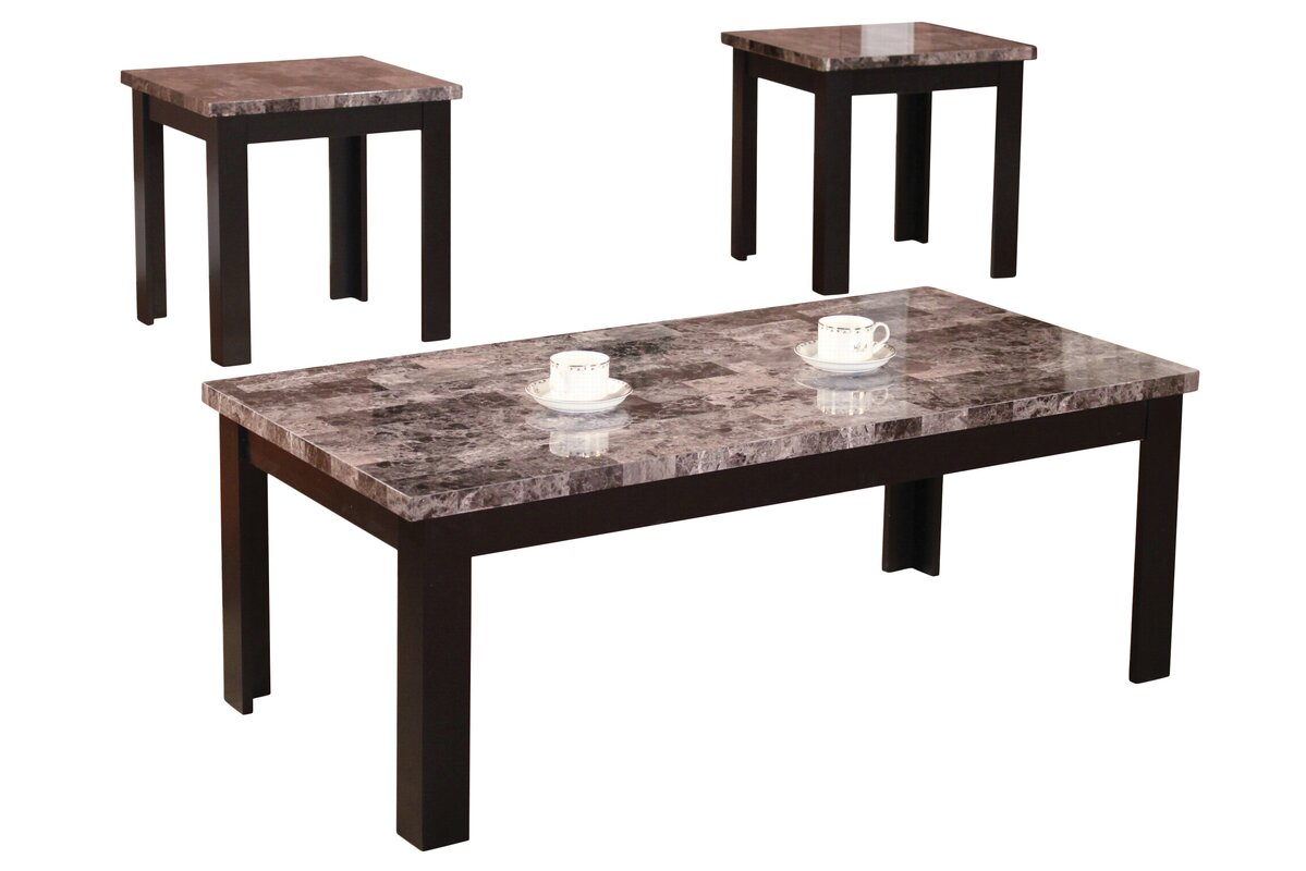 Attractive Cecil Marble Top 3 Piece Coffee Table Set