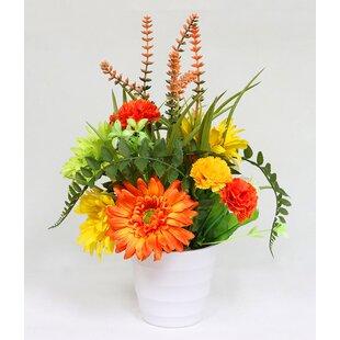 Artificial Mixed Flower Floral Arrangement in Pot