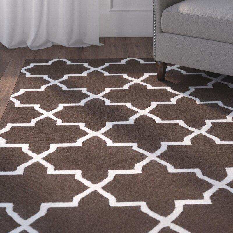 Charlton Home Blaisdell Geometric Handmade Tufted Wool Brown Area Rug Wayfair