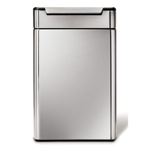 simplehuman 12.1 Gallon Touch-Bar Trash Can, Dual Compartment Recycler, Brushed Stainless Steel