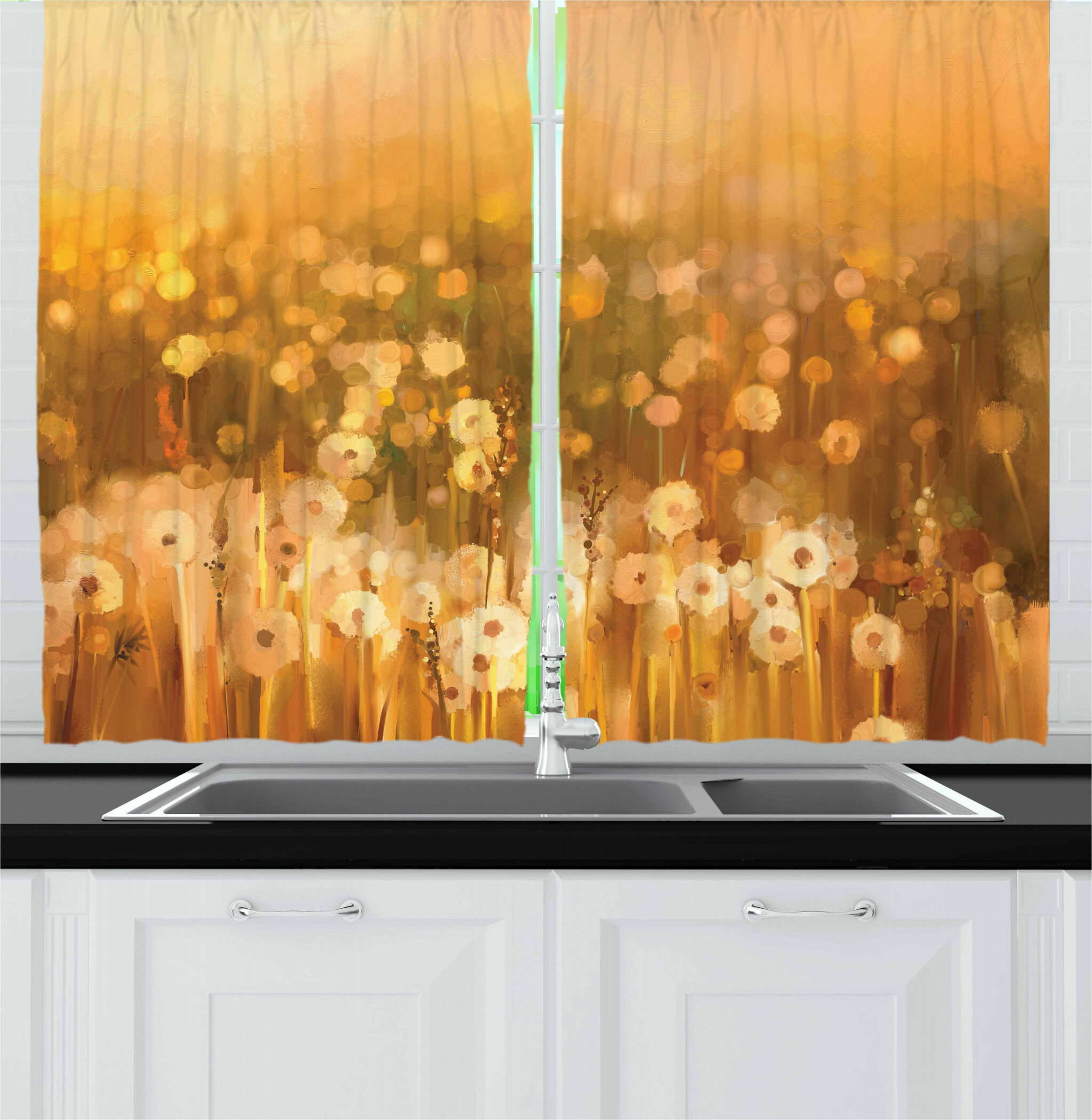Dandelion Cafe Curtains Kitchen Cafe Curtains Window Curtain Premier Print Dandelion Curtains