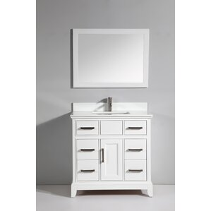 phoenix stone 36 single bathroom vanity with mirror - Modern White Bathroom Cabinets