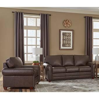 Ebern Designs Made In Usa Rosmunda Distressed Grey Top Grain Leather Sofa And Loveseat Wayfair