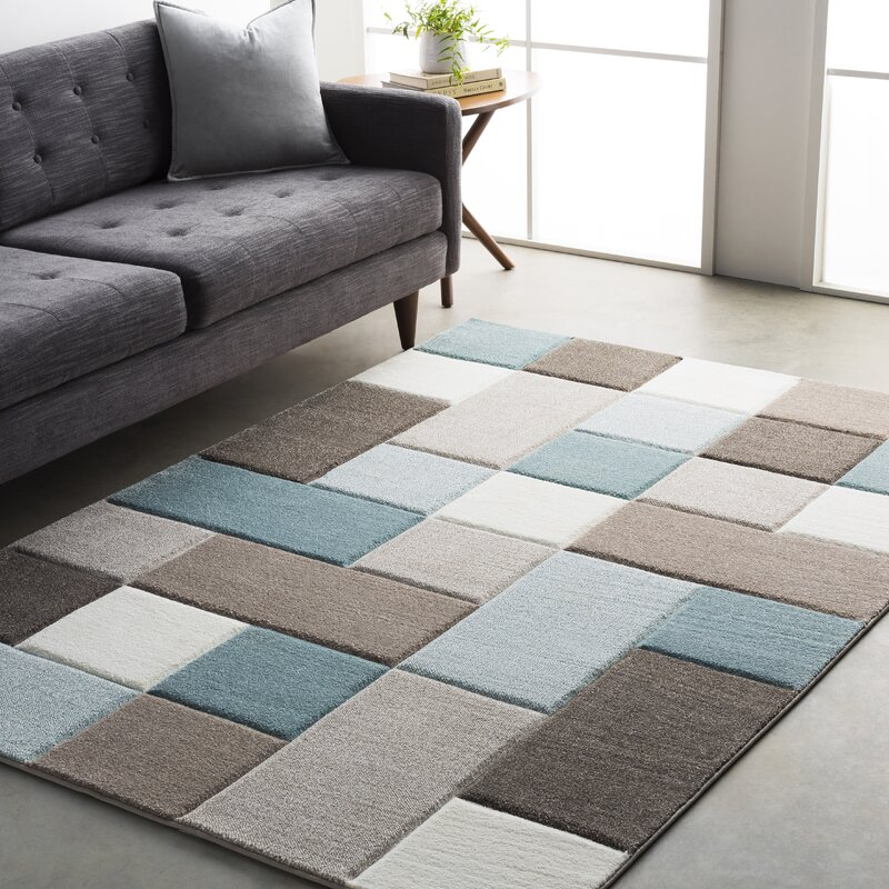 Mott Street Modern Geometric Carved Teal Brown Area Rug
