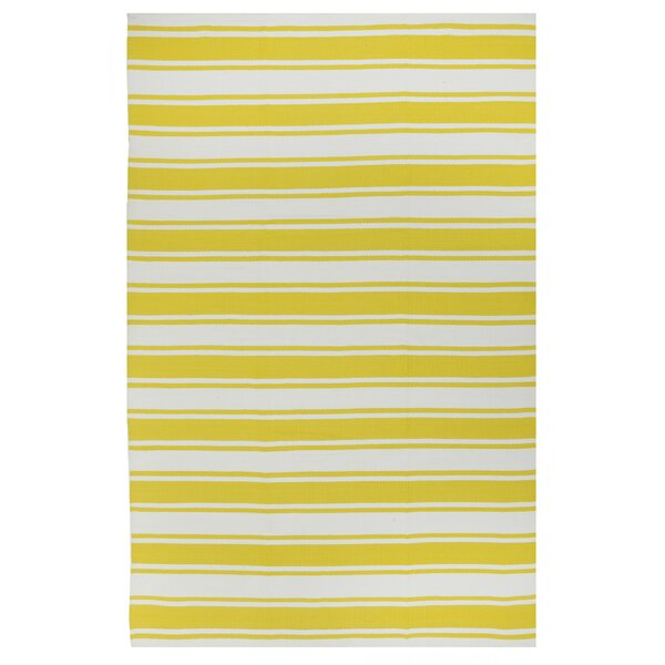 Fab Habitat Lucky Yellow/White Striped Indoor/Outdoor Area Rug U0026 Reviews |  Wayfair