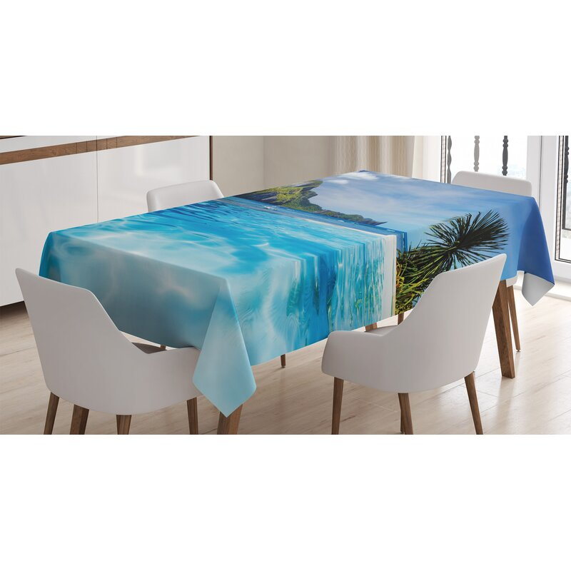 East Urban Home Ambesonne Landscape Tablecloth Landscape With Swimming Pool And Distant Island Tropic Exotic Hawaiian Theme Rectangular Table Cover For Dining Room Kitchen Decor 52 X 70 Turquoise Green Wayfair