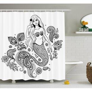 Paisley Mermaid Figure in Ocean Single Shower Curtain