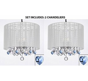 3-Light LED Drum Chandelier with Crystal Hearts (Set of 2) by Harrison Lane
