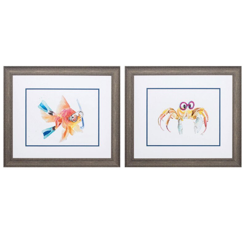 Highland Dunes Fish Crab 2 Piece Picture Frame Graphic Art Print Set On Paper Wayfair