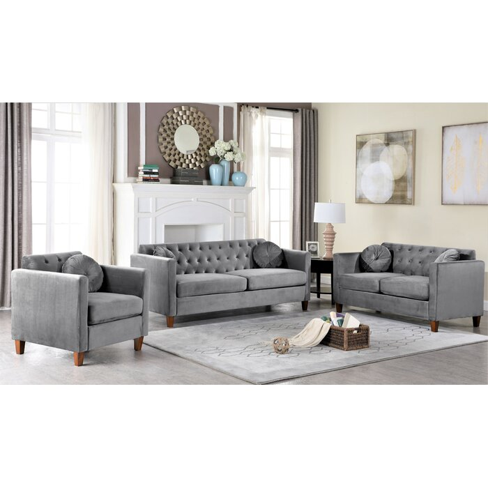 Persaud Velvet Classic Chesterfield 3 Piece Living Room Set