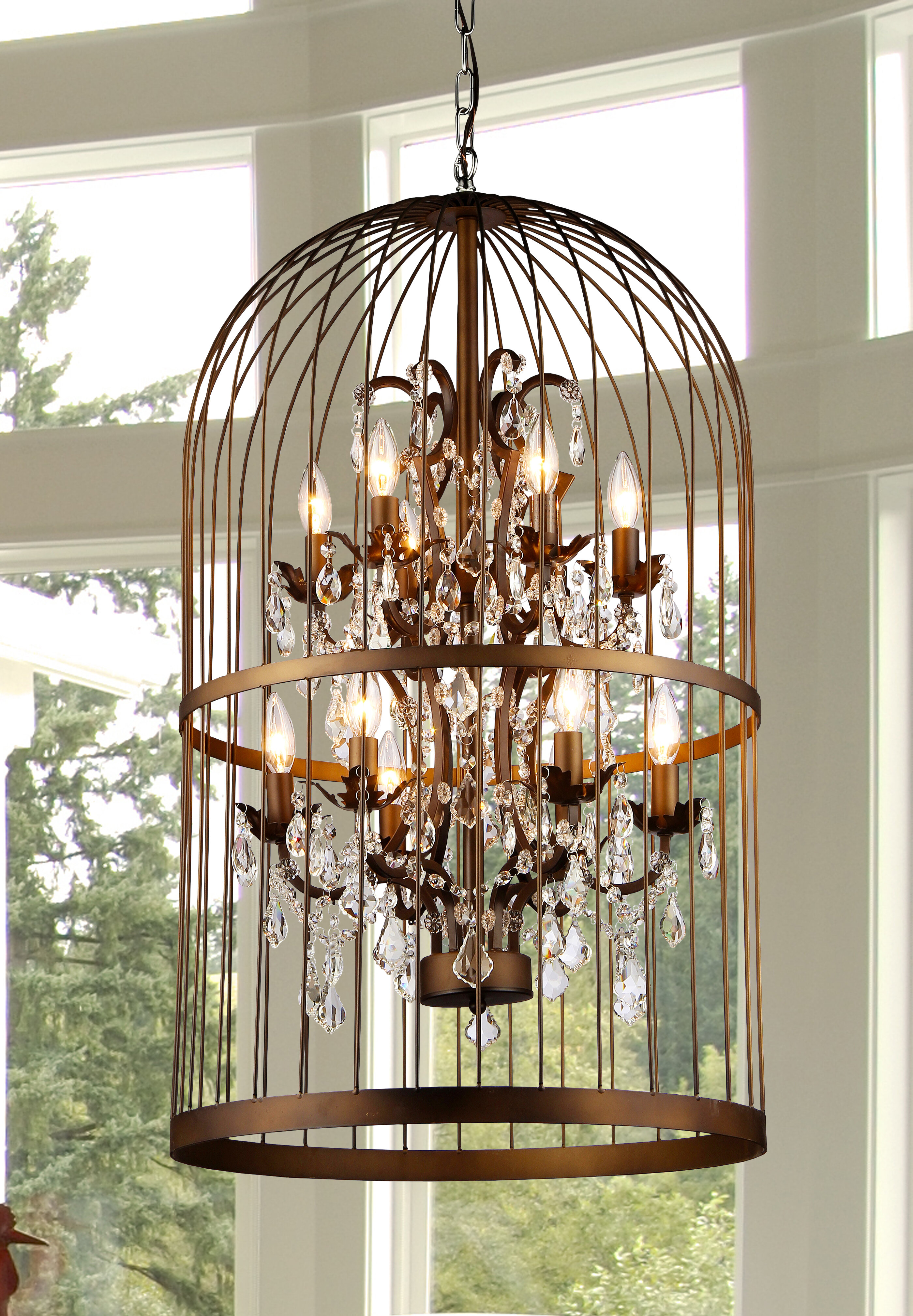 Warehouse of Tiffany Rinee III Cage 12 Light Crystal Chandelier
