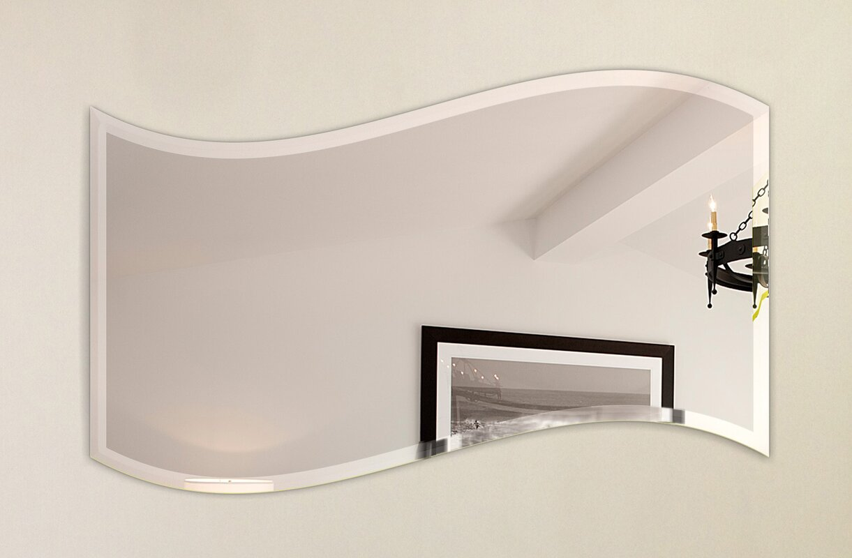 Fab glass and mirror wavy beveled polish frameless wall mirror wavy beveled polish frameless wall mirror with hooks amipublicfo Image collections