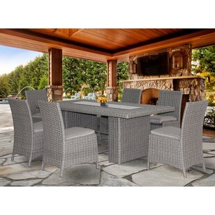 Beachcrest Home Churchill New Deluxe 7 Piece Dining Set with Cushion