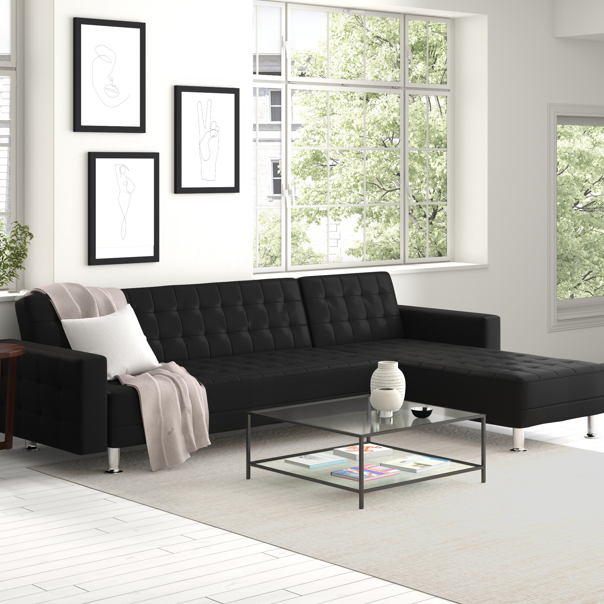 Zipcode Design Rosina 118 12 Wide Faux Leather Reversible Sofa And Chaise Reviews Wayfair
