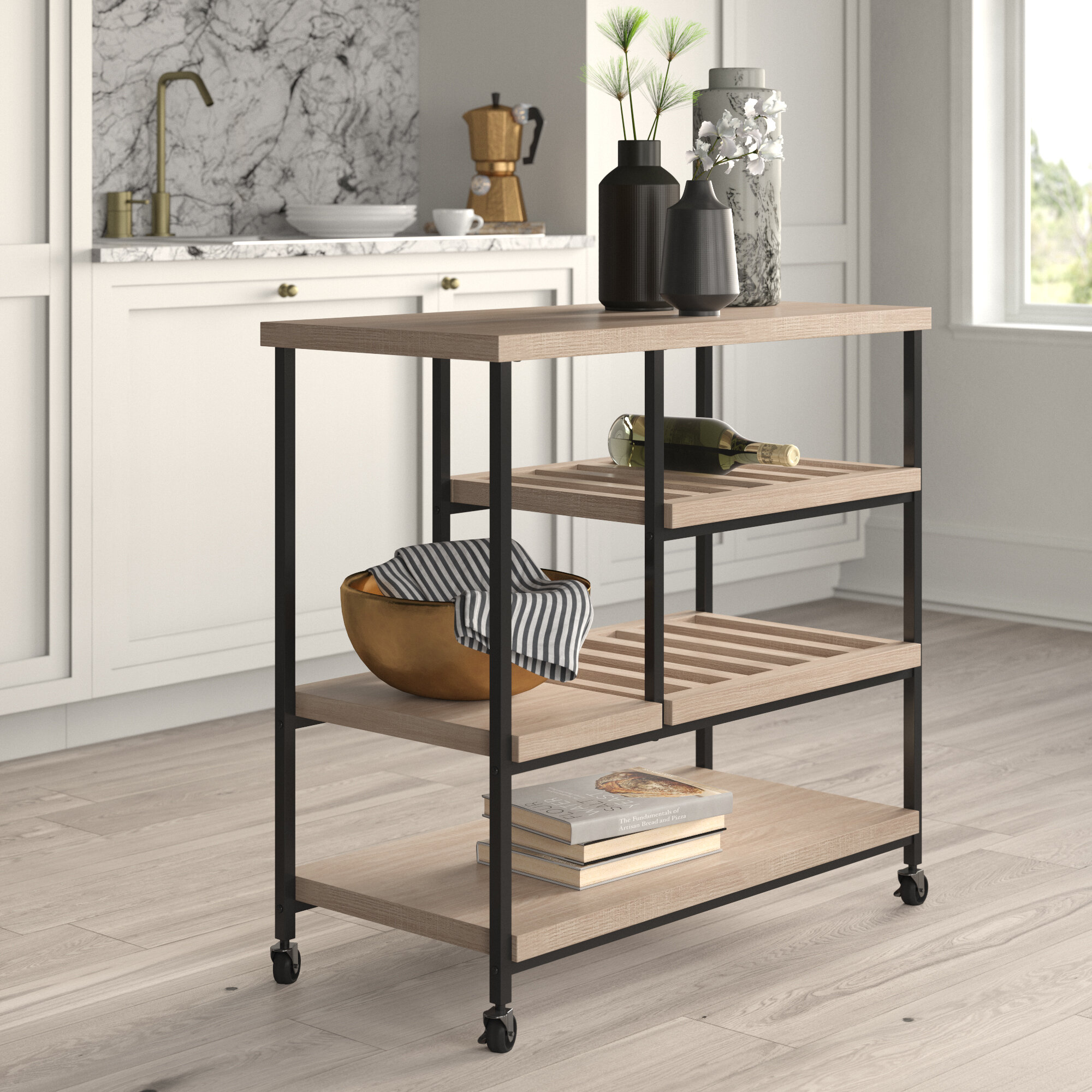 Landis Kitchen Cart With Wooden Top