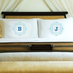 2 Piece Initial Motif Couples' Pillowcase Set