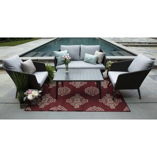Corrigan Studio Eaglin 4 Piece Rattan Sunbrella Sofa Set with Cushions (Set of 4)