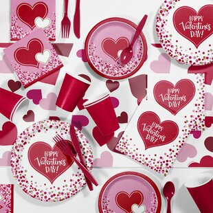 Happy Hearts Valentines Day Paper/Plastic Party Supplies Kit (Set of 81)