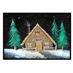 Welcome Lodge Christmas Log Home Doormat