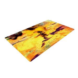 Josh Serafin Pool of Life Abstract Yellow Area Rug