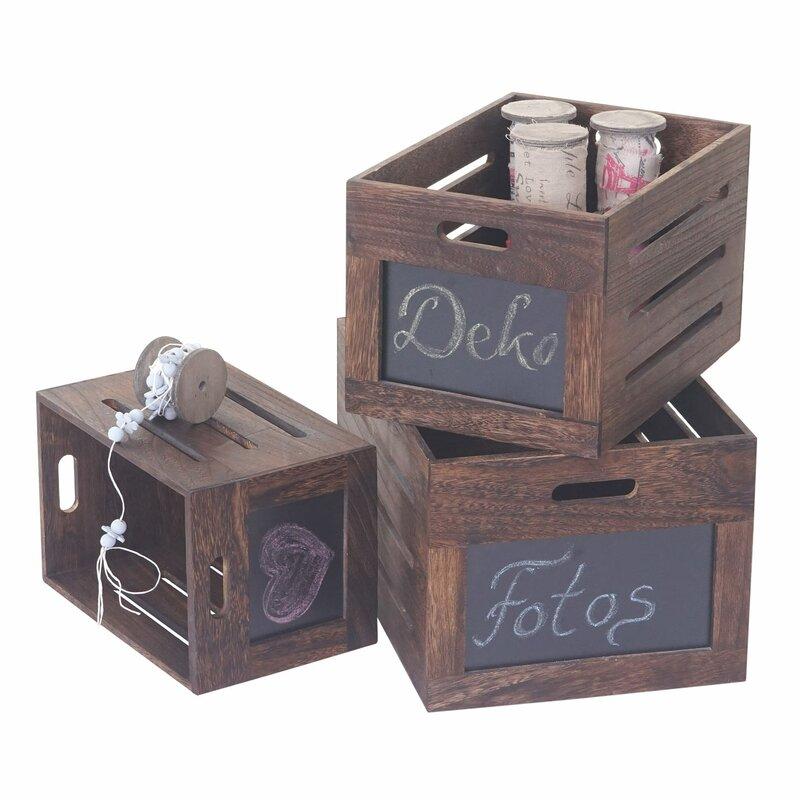 hazelwood home 3tlg kisten set troyes aus holz. Black Bedroom Furniture Sets. Home Design Ideas