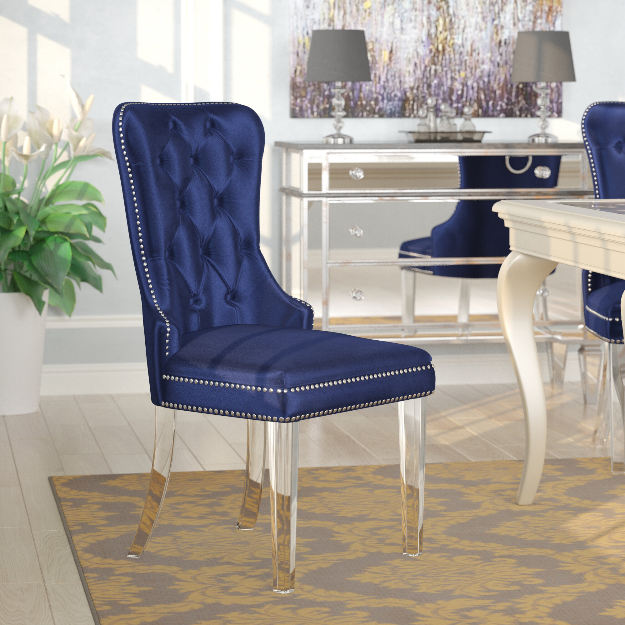 Picture of: Willa Arlo Interiors Zaphod Tufted Upholstered Dining Chair Reviews Wayfair