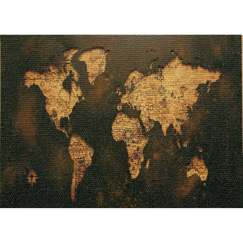 East Urban Home World Map Dark Yellow Area Rug Wayfair